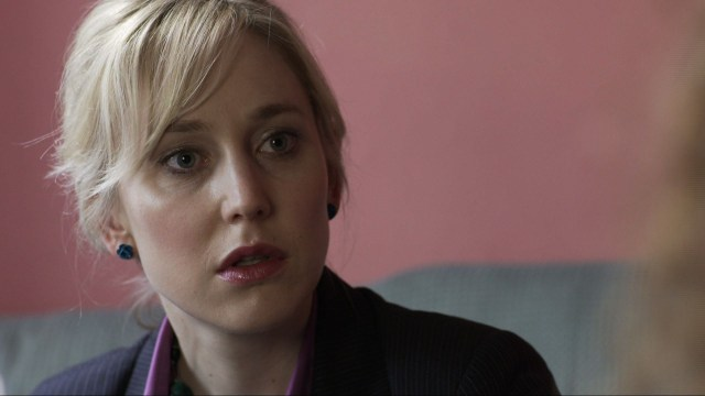 Publicity still from short film 'Victims': Hattie talking to Ellen shocked