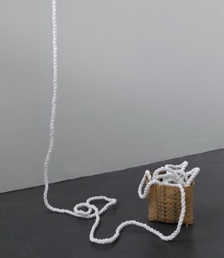 Feminist Escape Route, dimensions variable, 20 meters of rope made from net curtains, found basket, (2017)