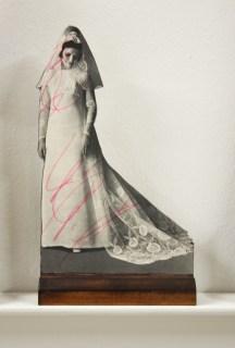 Bridie, 21, 20x15x5cm (x21), paper, plywood, felt tip pen (2013)