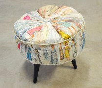 Happiness Not Included, 40x35x35cm, vintage sewing patterns, watercolour, footstool legs (2012)