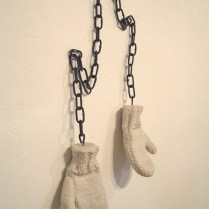 Mother Dear, 50x25x10cm, composite marble, steel chain (2009)