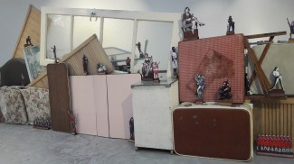 Domestic Front, dimensions variable, found furniture, paper, plywood (2018)