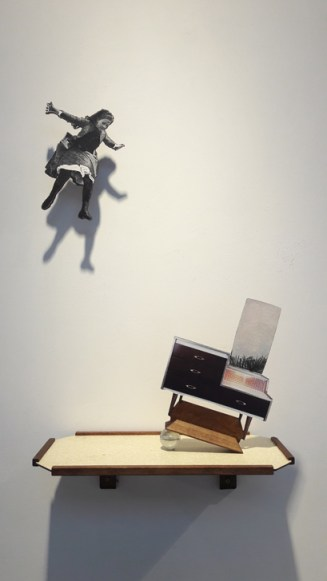 Rupture I, 50x30x15cm, shelf, paper, plywood, glass marble (2018)