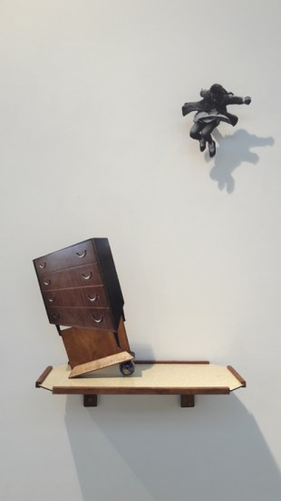 Rupture VI, 50x30x15cm, paper, plywood, shelf, glass marble (2018)