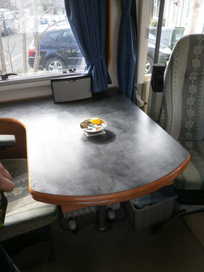 The fixed table - there is a pull out leaf section too