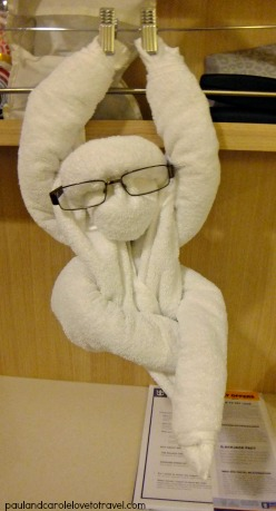 Welcomed into our cabin by a towel monkey