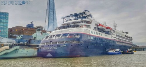 silver cloud cruise ship docked in london in front of the shard  expedition cruises #silversea #cruises #thisissilversea #expedition #cruising