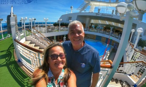 Paul and Carole 2019 Review.  Enjoying the sunshine on the Crown Princess. #PrincessCruises #CrownPrincess #paulandcarole2019review #paulandcarole #travel #travelbloggers #travelvloggers