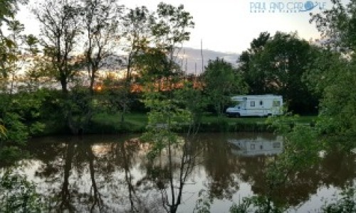 Our little camper nestled in the trees at Pilaton Hall Farm - Paul and Carole 2019 Review  #outdoorlife #camping #Pillatonhallfarm   #paulandcarole2019review #paulandcarole #travel #travelbloggers #travelvloggers