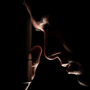 Music photography. The singer and the microphone.