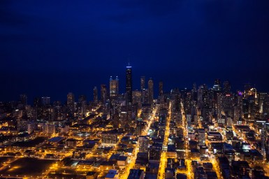 Chicago Aerial Night Photography