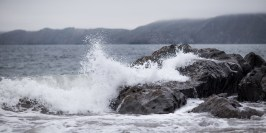 Crashing of the water against the rocks