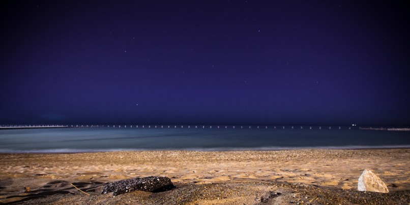 Lake Michigan Chicago Beach at Night