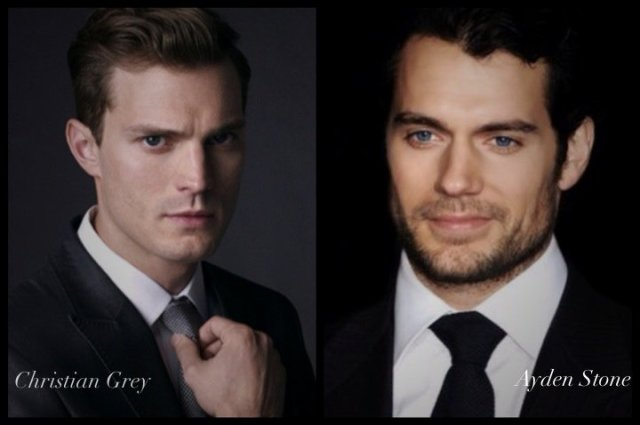 Photo depiction of Christian Grey, portrayed by actor Jamie Dornan; and Ayden Stone, portrayed by Henry Cavill