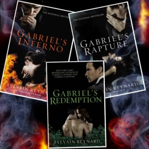 photograph collage of the book covers from the Gabriel Trilogy by Sylvain Reynard