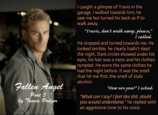 A photo teaser quote from Fallen Angel 3, an erotic romance novel by Tracie Podger.