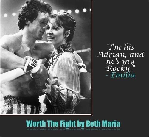 A photo from the original Rocky movie with Sylvester Stallone, advertising Worth The Fight, a boxing-themed erotic romance novel by author Beth Maria