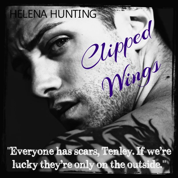 Photo image of a tattooed man with a quote from Clipped Wings, by Helena Hunting