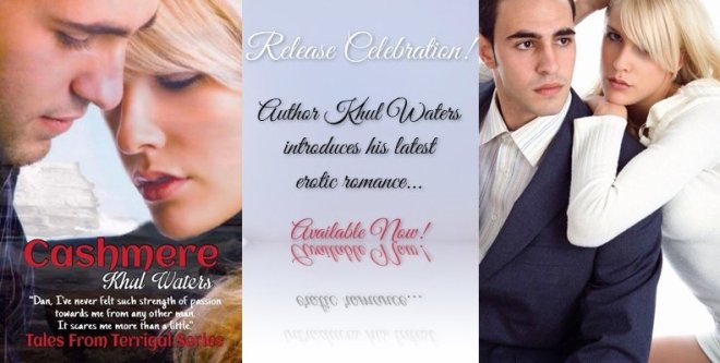 Photo banner announcing the release of Cashmere, an erotic romance by Khul Waters