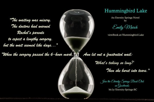 Photo of an hourglass with a quote from Hummingbird Lake, a contemporary romance novel by Emily March
