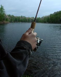 Photo of a man's hands holding a fly-fishing rod, representing a scene from Nightingale Way, by author Emily March