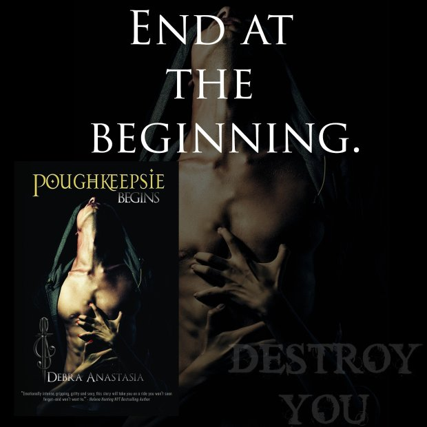 Photo Teaser featuring the cover and tag line for the release of Poughkeepsie Begins, by Debra Anastasia