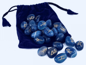 Photo of Rune stones with a velvet bag