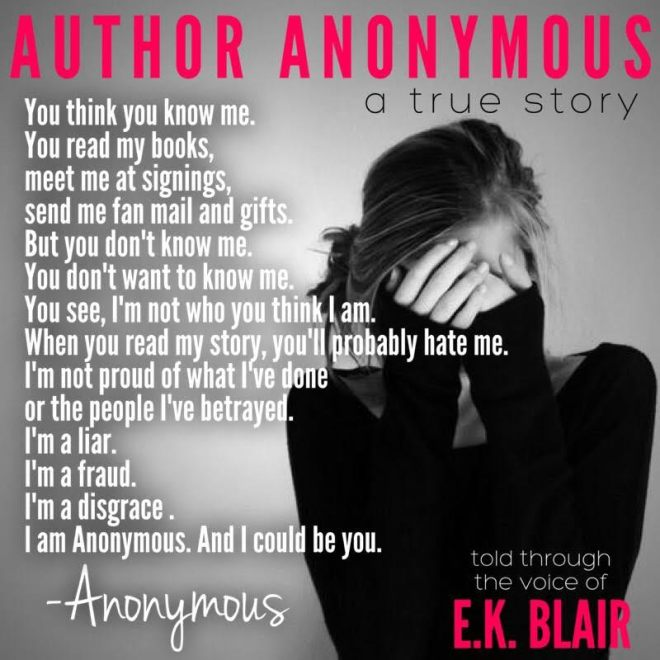 Teaser photo and quote from Author Anonymous by E. K. Blair