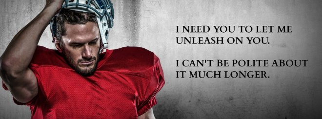 Photo of a football player in a red jersey with a quote from Hail Mary
