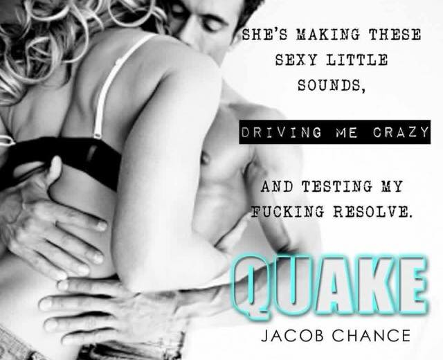 Photo of a couple in bed with a teaser quote from QUAKE by Jacob Chance