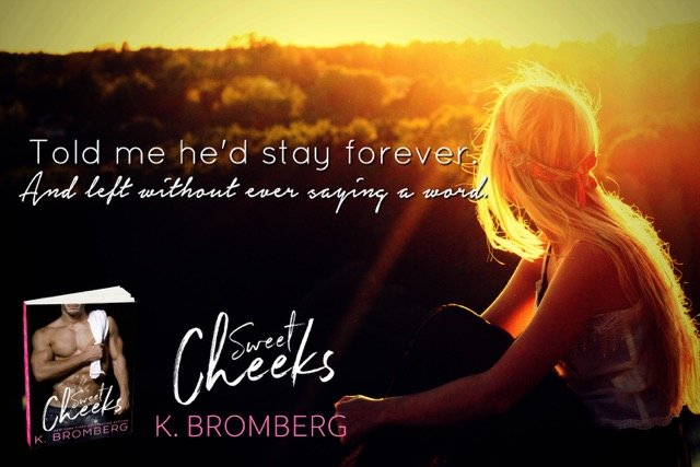 Teaser for Sweet Cheeks, showing a woman watching the sunset and featuring a quote from the novel