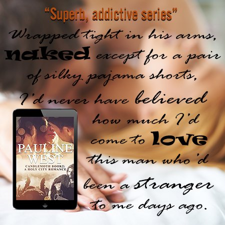 A quote from Book 2 of the Candlemoth Series superimposed over a photo of a couple kissing