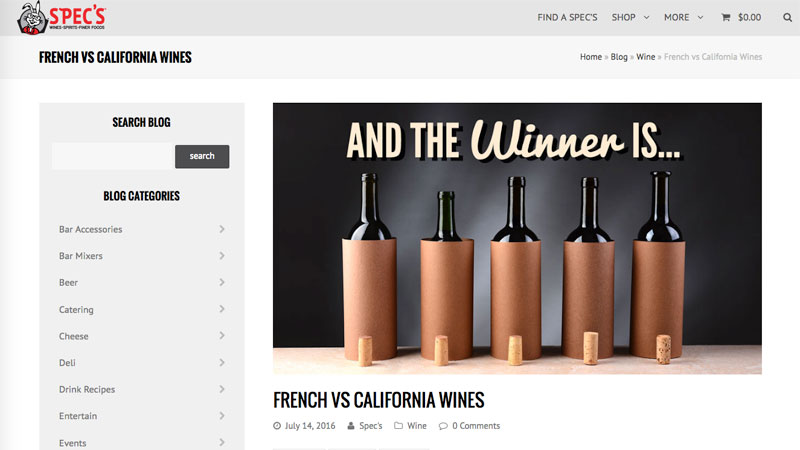 Spec's Wine Spirits & Finer Foods - Blog