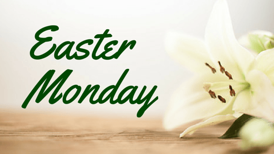 Easter Monday graphic with lilies
