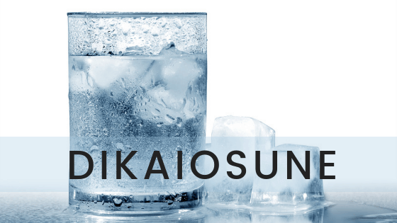 an enticing glass of water with the title dikaiosune the greek word for righteousness
