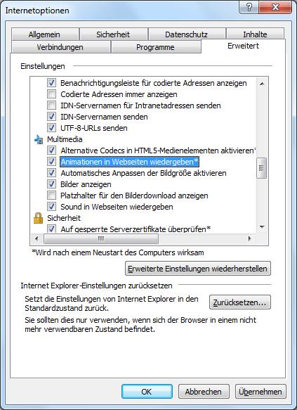 Animierte Gif-Dateien automatisch im Internet Explorer abspielen