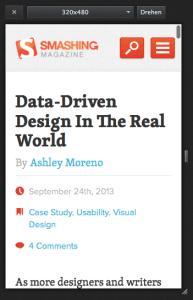 Scrollbars in der Responsive Design View liegen über dem Seiteninhalt