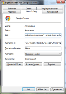 Chrome mit Flags unter Windows starten