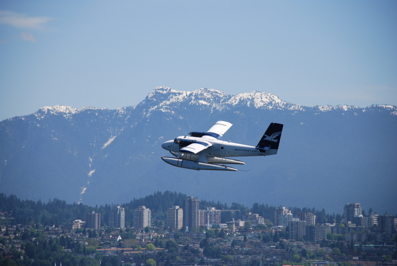 Aircraft departing Vancouver harbour
