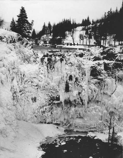 The 1959 Big Snow was also distinguished by its deep and extended freeze - enough to clog Snoqualmie Falls. Photo by Hackney courtesy Snoqualmie Valley Historical Museum