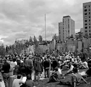 THEN: In the 32 years between Frank Shaw's dedication picture and Jean Sherrard's dance scene, Freeway Park has gained in verdure what it has lost in human use.