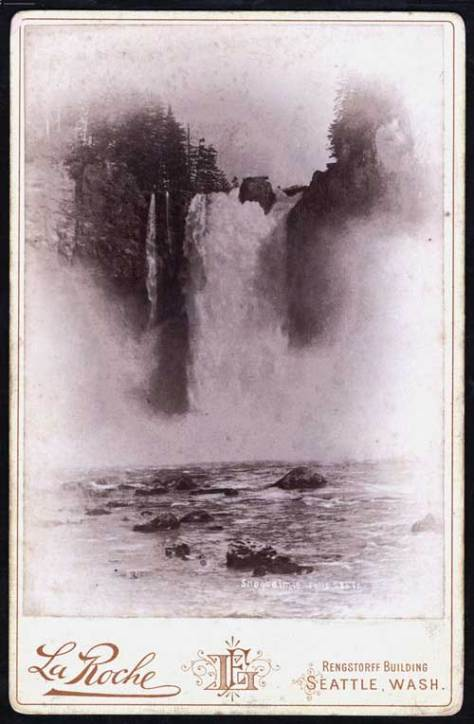 On the flip side is what was then considered the other principal natural wonder of Puget Sound: Snoqualmie Falls.  One of Seattle's more active photographers in the late 1880s and early 1890s, LaRoche records the Falls with Seattle Rock still in place.  Photo dates from ca. 1889.