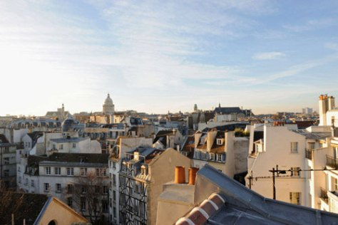 On the morning of Jan. 15, 2009, looking south towards the Pantheon from St. Julien, and with her back to Notre Dame