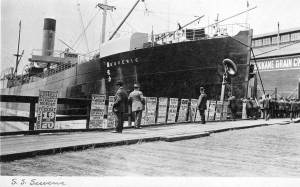 THEN: The S. S. Suveric makes a rare visit to Seattle in 1911. (Historical photo courtesy of Jim Westall)