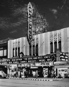 THEN:The early evening dazzle of the Roosevelt Theatre at 515 Pike Street, probably in 1941. (Courtesy Lawton Gowey)