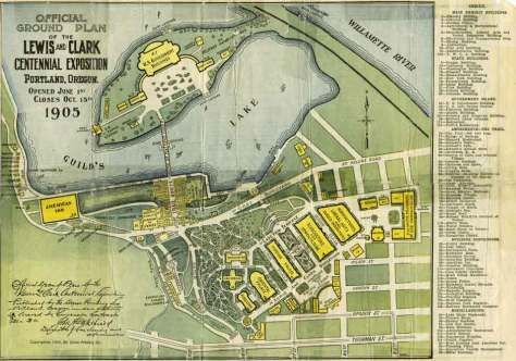 The official map of the LCCE shows the location of the Washington Pavilion, right-of-center, from which the historical view was most likely taken.