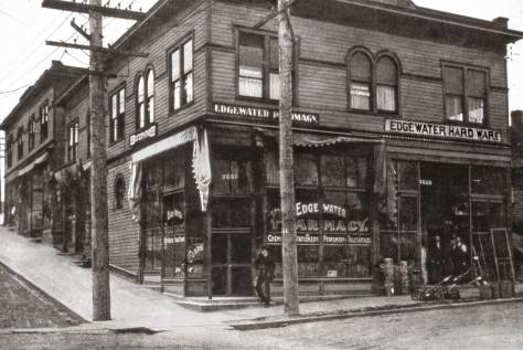 The business center of Edgewater at 36th Street and Woodland Park Avenue ca. 1910.