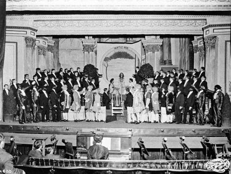 The Bug-Tableau on an AYP stage with chorus and minstrels.