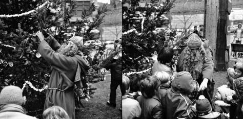 "Two two-and-a-quarter negatives side-by-side, and both by Frank Shaw on Dec. 4, 1976.  This is some perhaps short-lived Pioneer Square promotion of a ""Father Christmas.""  It readers look at the comment by Jana to this insertion they will find a link to photos of her's from 1978.  Included among them is a record of the ""Father Christmas"" booth at Pioneer Square in 1978, althought not, as far as I could determine, of the Father himself."