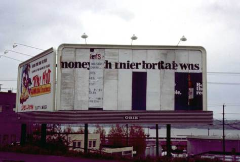 "An example of Frank Shaw modern sensibility is this recording of what he describes as ""Garbled Billboard on 1st Ave., April 5, 1972.]"